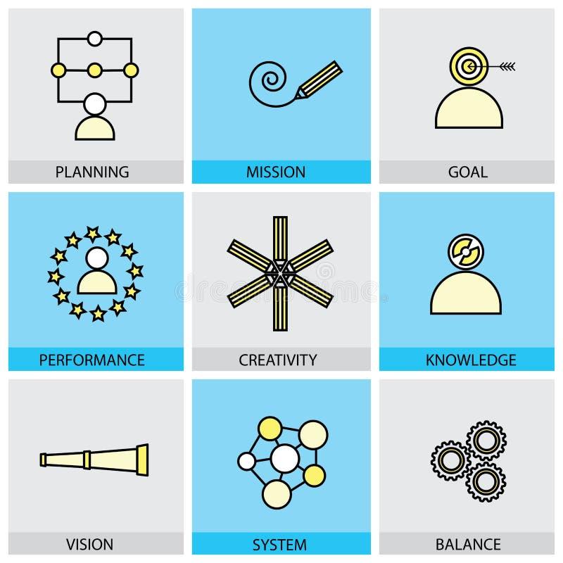 Ensemble plat de conception de ligne icônes de vecteur de but de mission de planification merci illustration stock