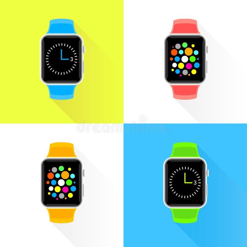 Ensemble plat de conception de smartwatch à la mode coloré illustration stock