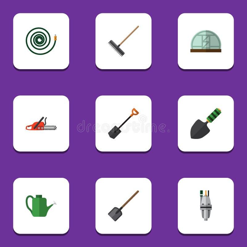 Ensemble plat de datcha d'icône de garant, de pelle, de pelle et d'autres objets de vecteur Inclut également le tuyau flexible, s illustration stock