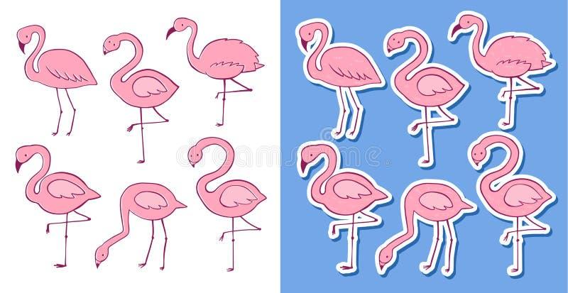 Ensemble plat de flamant de bande dessin?e rose de vecteur Collection tropicale exotique d'ic?nes d'oiseau Version colorée et d'a illustration libre de droits