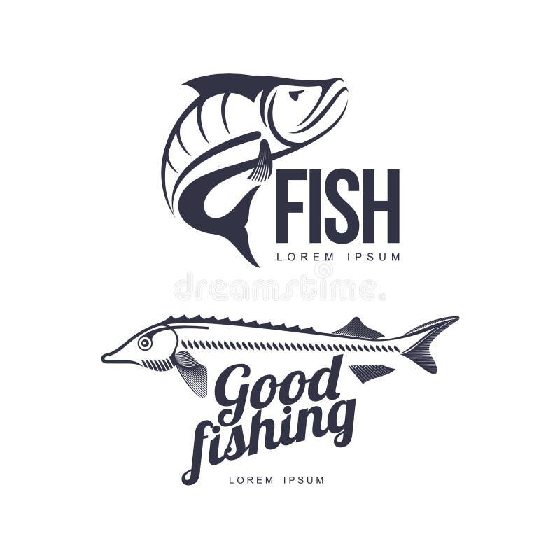Ensemble plat de silhouette de pictogramme d'icône de poissons de vecteur illustration de vecteur