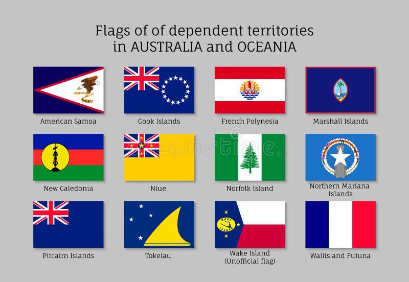 Ensemble plat de style d'Australie et d'Océanie de territoires non autonomes de drapeaux illustration de vecteur