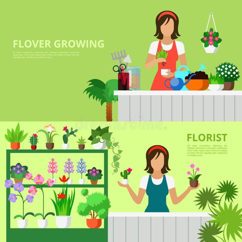 Ensemble plat de style de vecteur d'image de héros de bannière de site Web de fleuriste illustration de vecteur