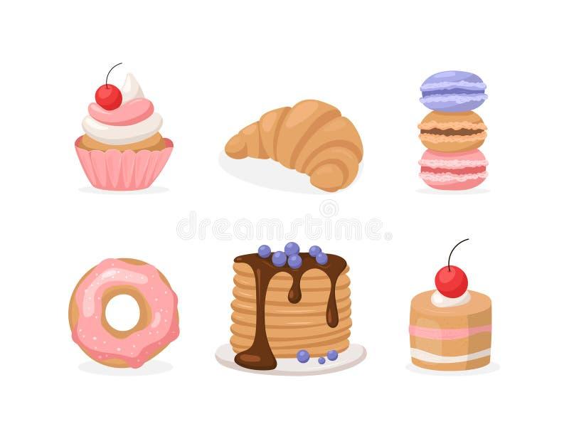 Ensemble plat de vecteur de bonbons : beignet, gâteau, crêpe etc. illustration de vecteur