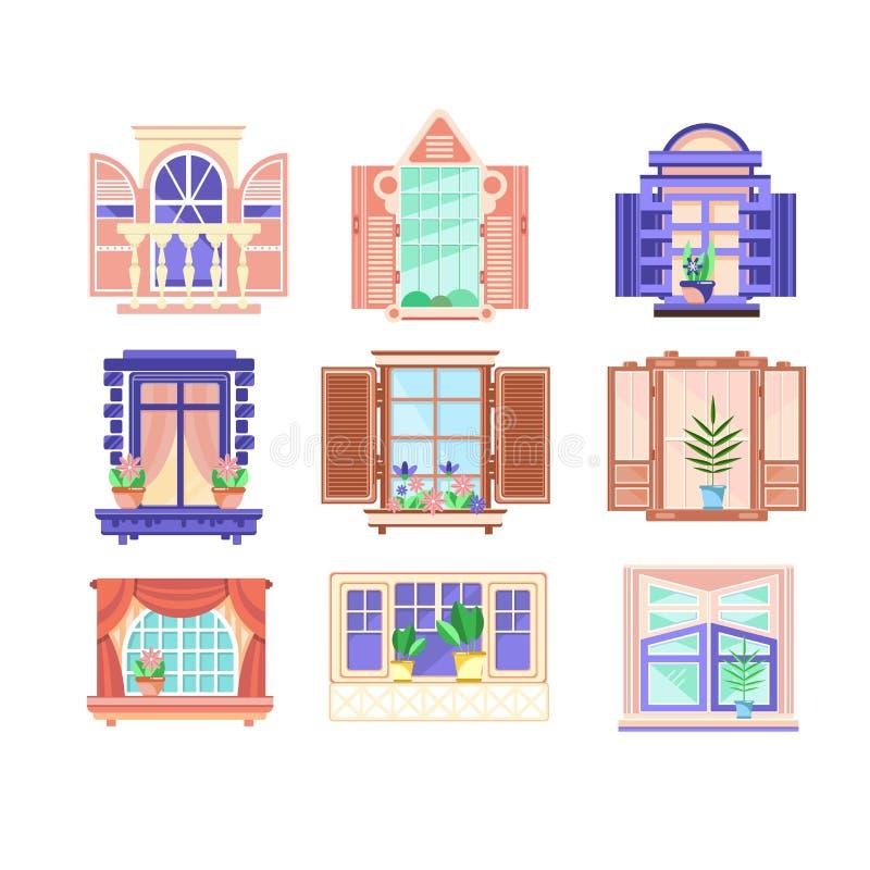 Ensemble plat de vecteur de châssis de fenêtre colorés fleurs dans des pots sur des rebords de fenêtre Éléments de décoration de  illustration stock