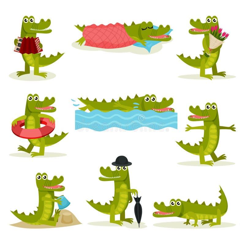 Ensemble plat de vecteur de crocodile drôle dans différentes actions Reptile prédateur vert Animal humanisé drôle illustration libre de droits