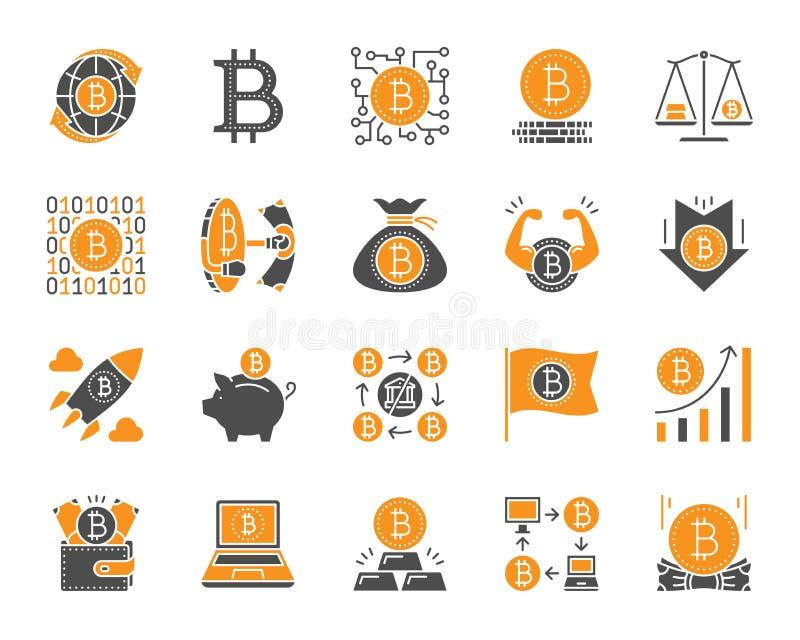 Ensemble plat de vecteur d'icônes de couleur simple de Bitcoin illustration de vecteur
