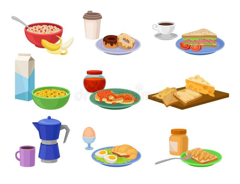 Ensemble plat de vecteur d'icônes de petit déjeuner Nourriture et boisson savoureuses Repas délicieux de matin Thème de nutrition illustration stock
