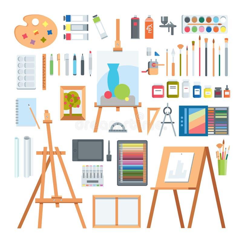 Ensemble plat de vecteur d'icônes de peinture d'outils d'art illustration de vecteur