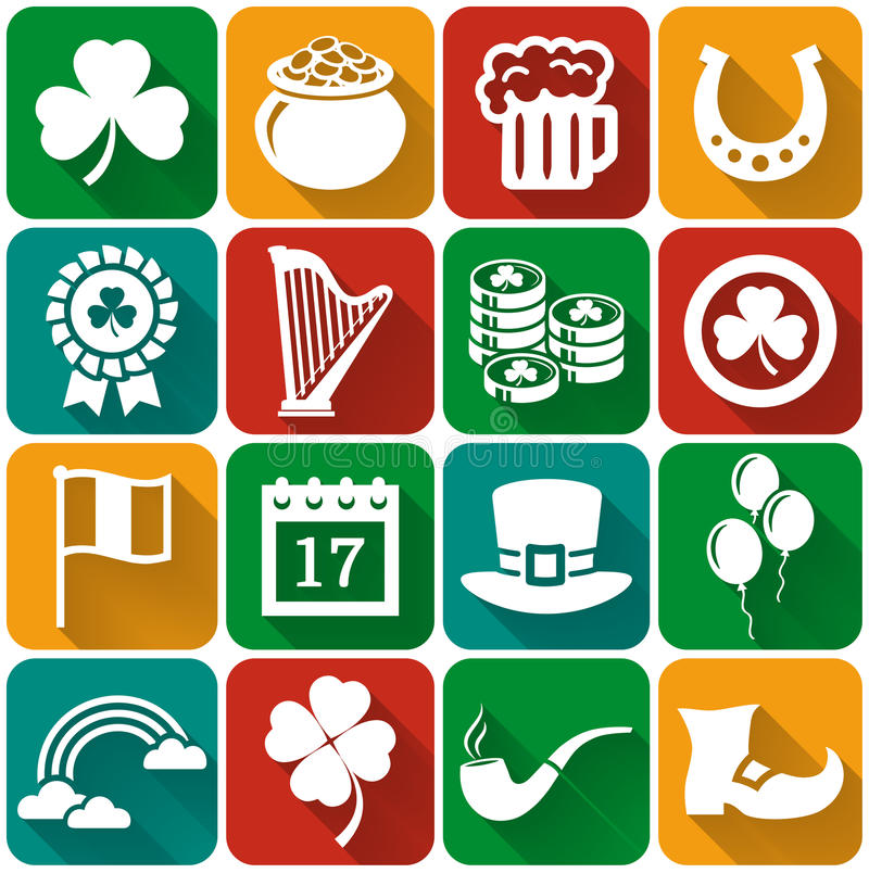 Ensemble plat de vecteur d'icônes du jour de St Patrick illustration stock
