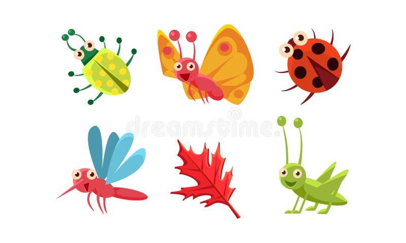 Ensemble plat de vecteur d'insectes mignons et de feuille rouge Sauterelle, papillon, coccinelle et moustique Caractères de monst illustration libre de droits