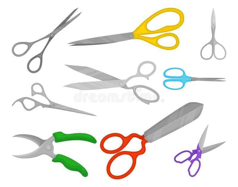 Ensemble plat de vecteur de différents types de ciseaux à des fins différentes Instruments de coupure professionnels illustration libre de droits
