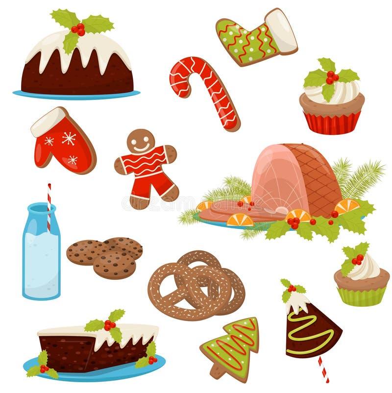 Ensemble plat de vecteur de nourriture et de boissons de Noël Jambon appétissant, gâteaux faits maison, bretzels, canne de sucrer illustration libre de droits