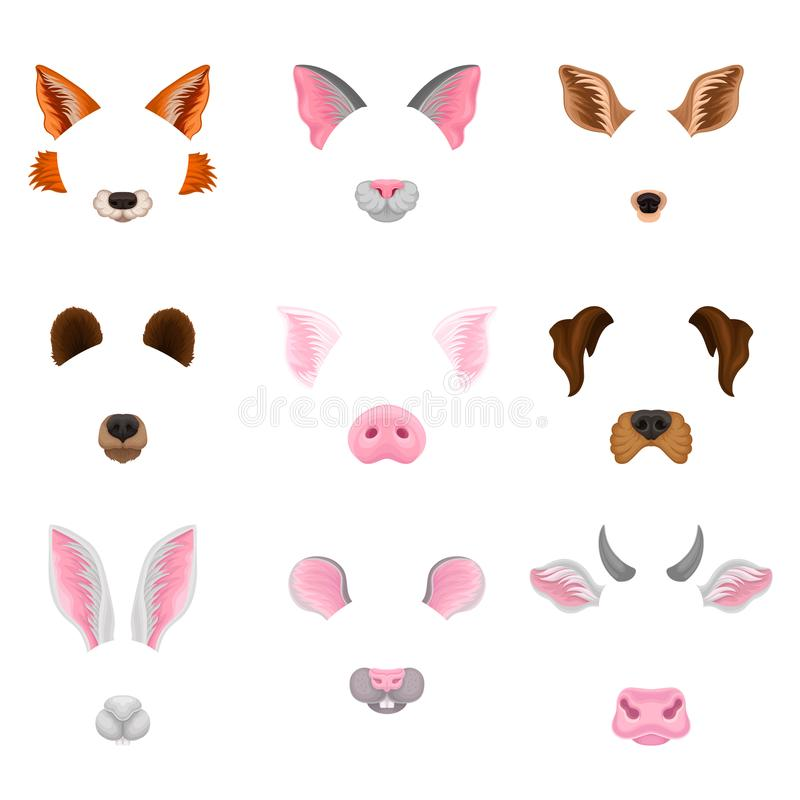 Ensemble plat de vecteur de visages animaux - oreilles et nez Masques colorés pour le carnaval Conception pour le décor ou la vid illustration stock