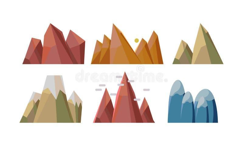Ensemble plat de vectoe de différentes montagnes rocheuses Éléments de paysage de nature pour le fond mobile de jeu illustration libre de droits