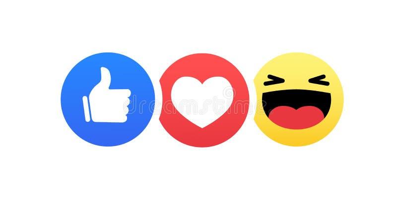 Ensemble plat drôle d'icône de couleur de réactions d'émoticône de style de résumé illustration libre de droits
