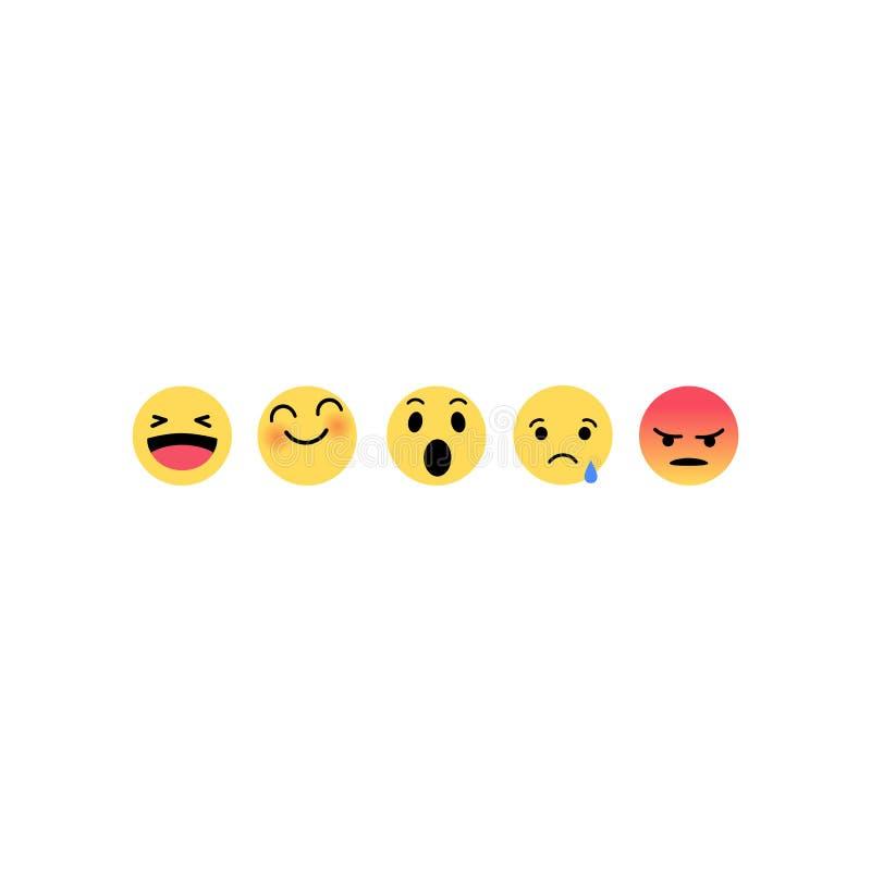 Ensemble plat dr?le abstrait d'ic?ne de couleur de r?actions d'?motic?ne d'emoji de style Expression sociale de sourire illustration libre de droits