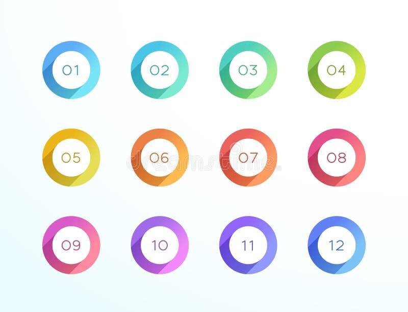 Ensemble plat du vecteur 12 d'icône d'ombre de cercle de gros point noir de nombre illustration libre de droits