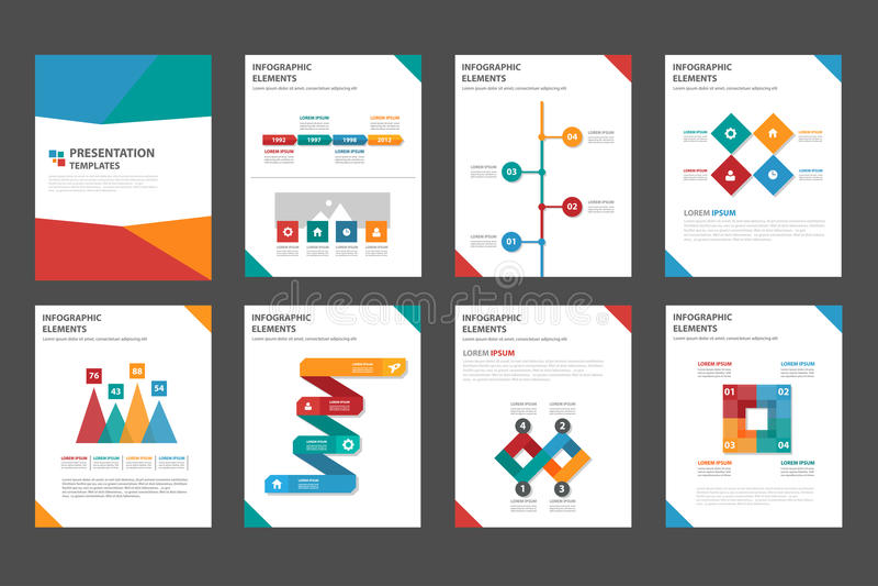 ensemble plat infographic universel de conception de la présentation 8 et de l'élément illustration stock