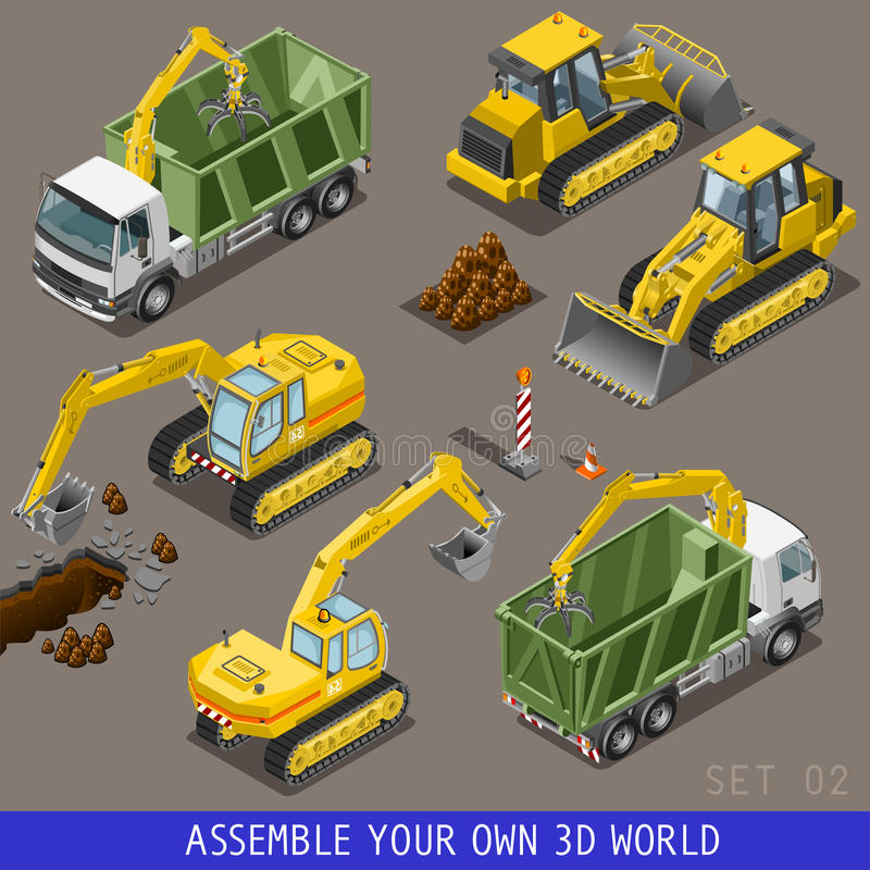 Ensemble plat isométrique de l'icône 3d de transport de construction de ville illustration libre de droits