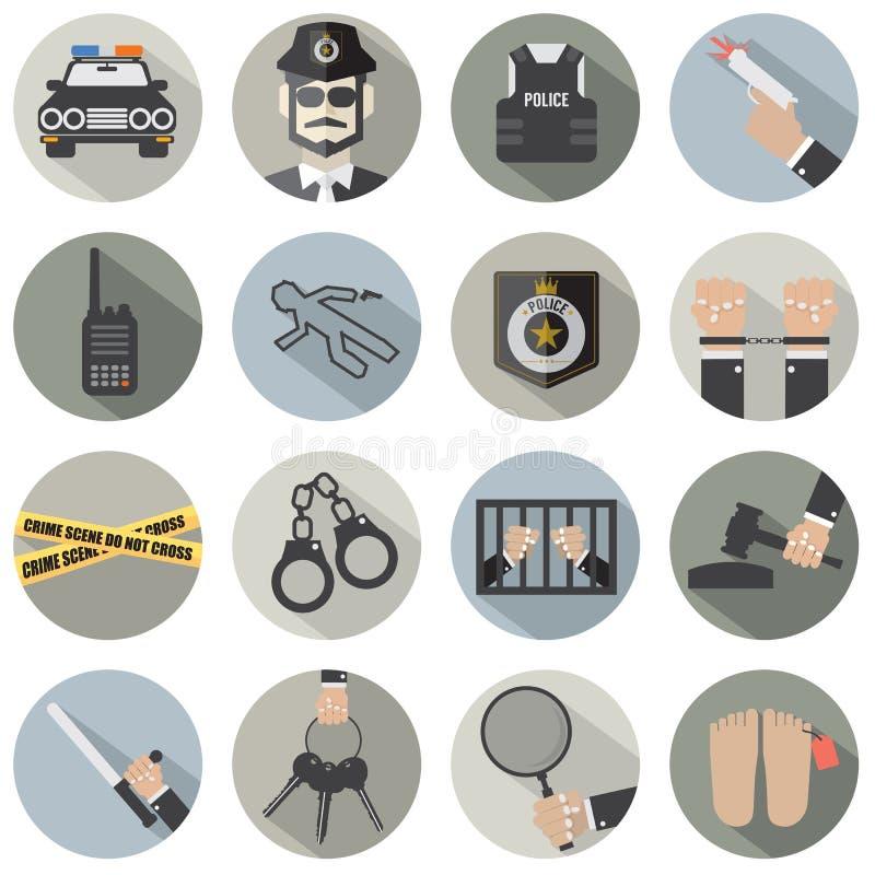 Ensemble plat moderne de police de conception et d'icône de loi illustration de vecteur