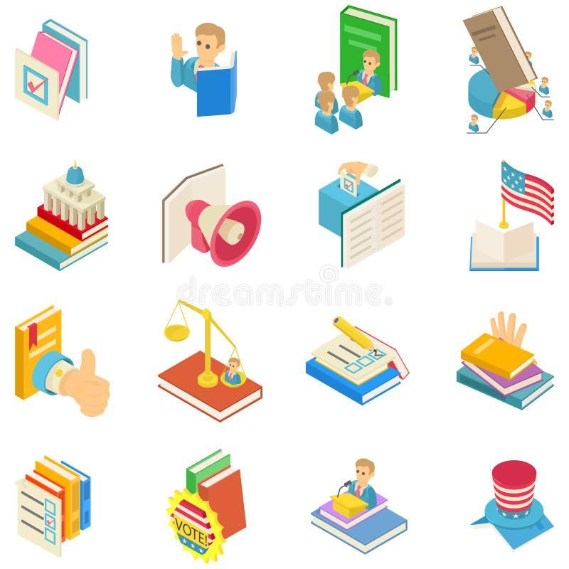 Ensemble politique d'icônes de livre, style isométrique illustration de vecteur