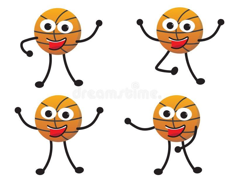 Ensemble poses de caractère de basket-ball de bande dessinée de différentes illustration de vecteur