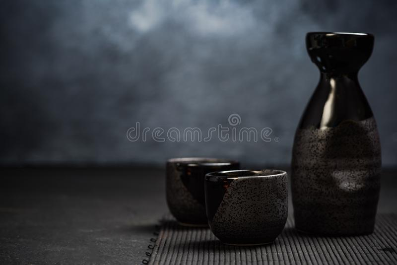 Ensemble potable de saké japonais d'Orienatal photos libres de droits