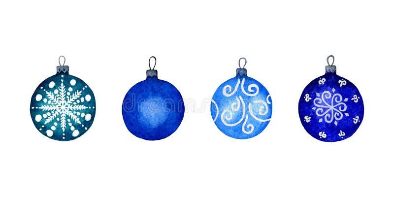 Ensemble pour aquarelle de boules bleues de Noël sur un fond blanc Décorations ornementales de vacances pendant la bonne année photographie stock