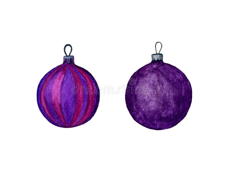 Ensemble pour aquarelle de boules pourpres de Noël sur un fond blanc Illustration de peint à la main Décorations ornementales de  photographie stock libre de droits