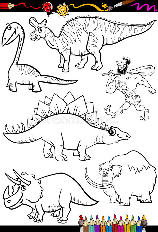 Ensemble préhistorique pour livre de coloriage illustration libre de droits