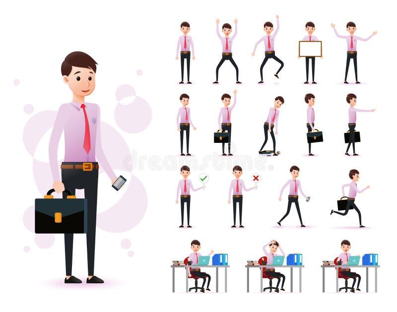 Ensemble prêt à employer caractère masculin de commis de 2D portant la longue position de douille et de lien illustration stock