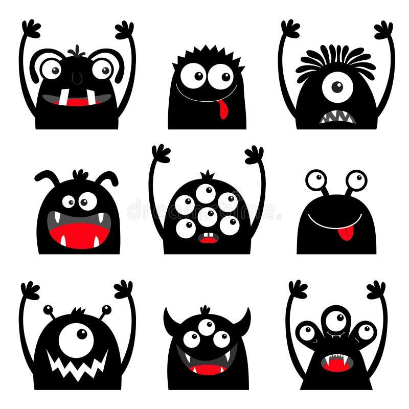 Ensemble principal d'icône de visage de silhouette de noir de monstre Yeux, langue, croc de dent, mains  Caractère drôle effrayan illustration stock