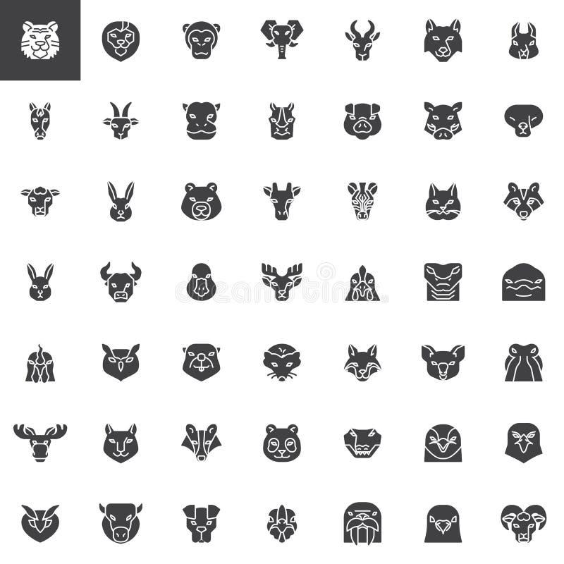 Ensemble principal d'icônes de vecteur de vue de face d'animaux illustration libre de droits