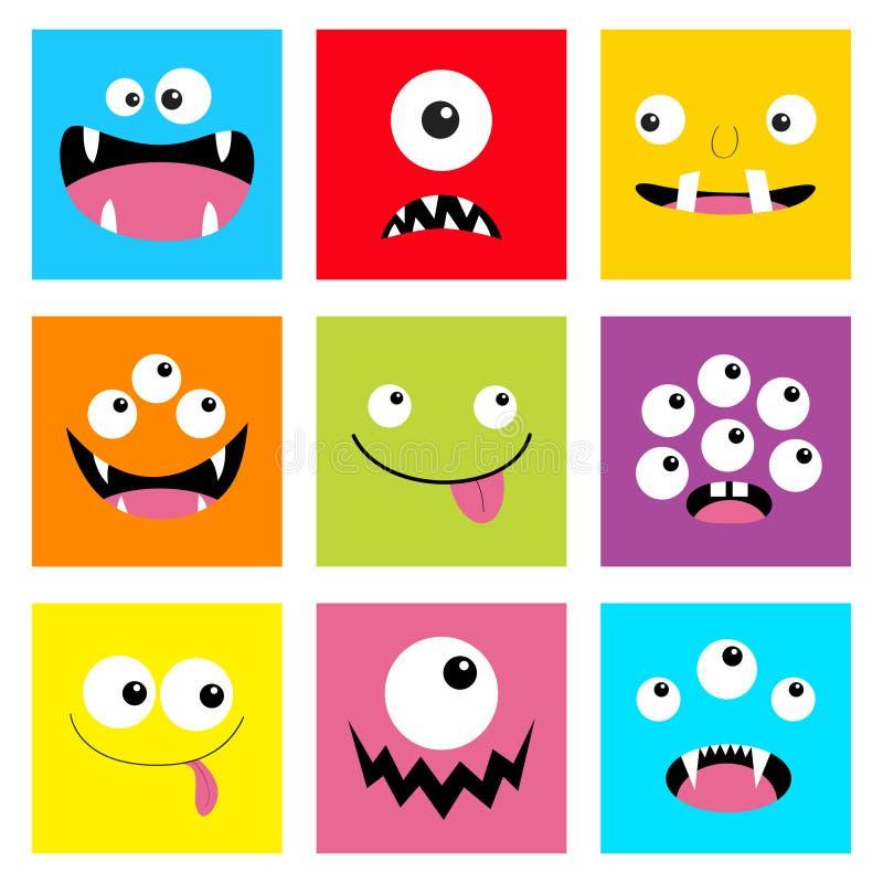 Ensemble principal de monstre T?te carr?e Émotion triste de sourire de visage de Boo Spooky Screaming Trois yeux, langue, croc de illustration de vecteur