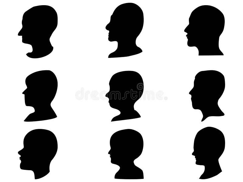 Ensemble principal de profil d'homme illustration de vecteur