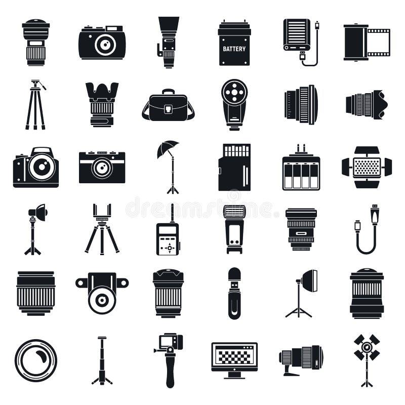 Ensemble professionnel d'icônes d'équipement de photographe, style simple illustration libre de droits