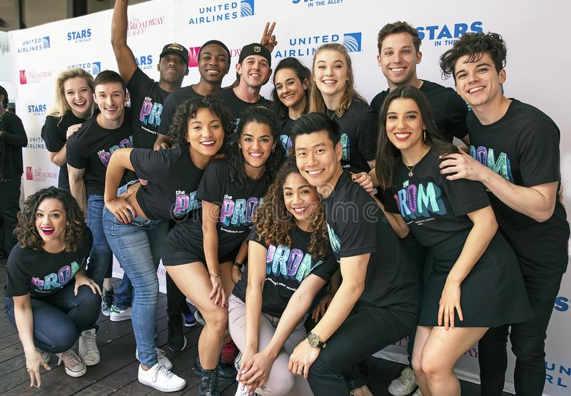 Ensemble from `The Prom` at 2019 Stars in the Alley. The ensemble from `The Prom` pose at Stars in the Alley, a free outdoor afternoon 2 hour concert heralding stock image