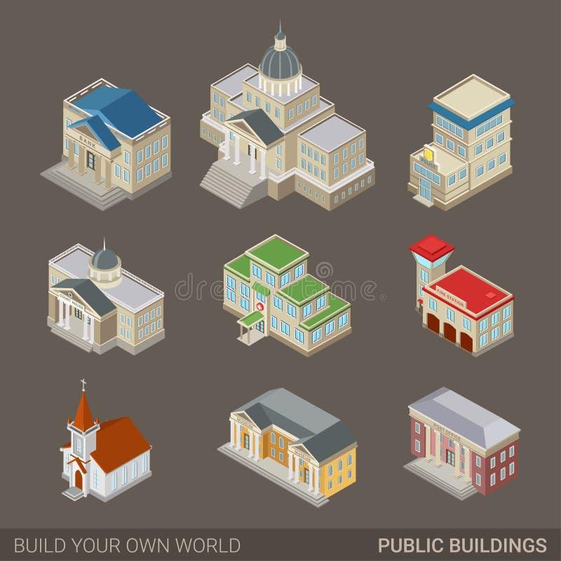 Ensemble public d'icône d'architecture de bâtiments de gouvernement de ville moderne illustration stock