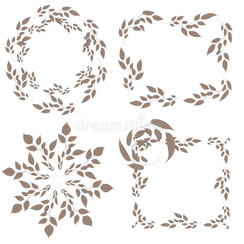 Ensemble quatre graphique d'isolement sur le blanc Rétro style d'automne Tir? par la main photographie stock