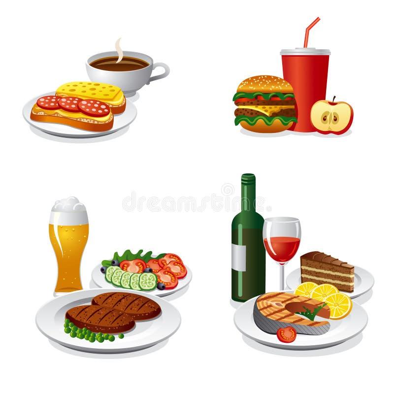 Ensemble quotidien d'icône de repas illustration stock
