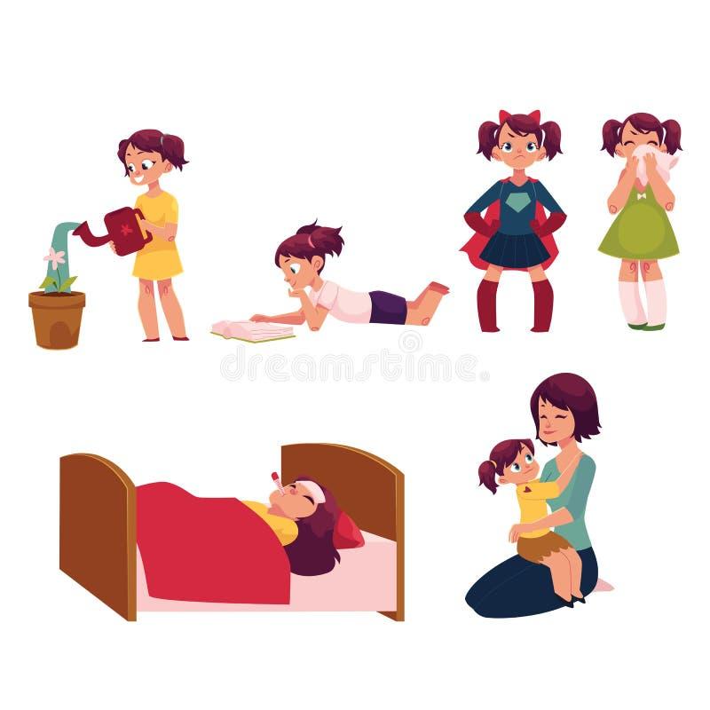 Ensemble quotidien de routine, mère de aide de petite fille illustration libre de droits