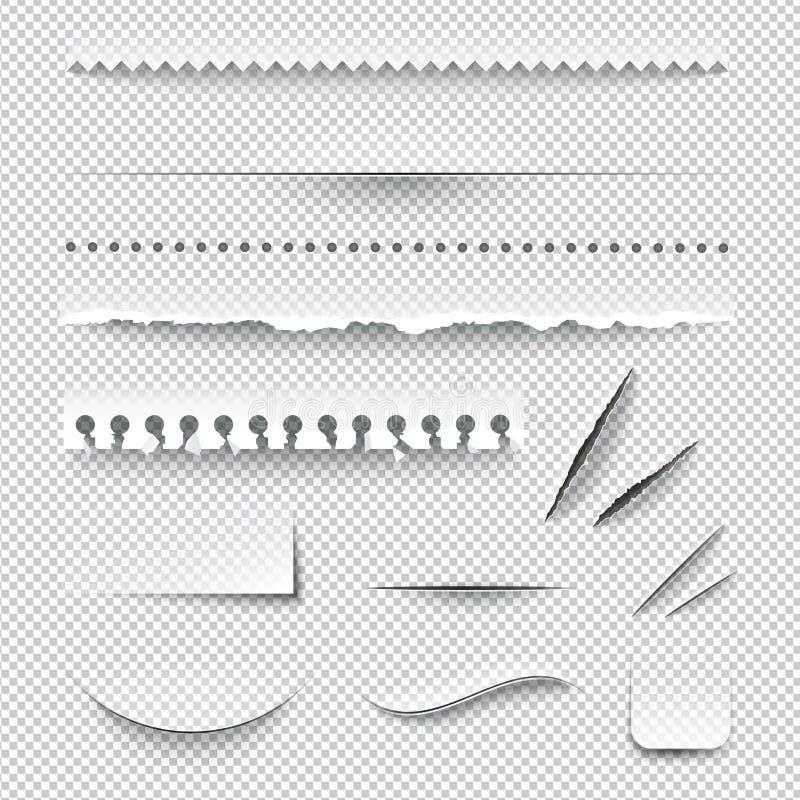 Ensemble réaliste à carreaux transparent de bords de papier illustration de vecteur