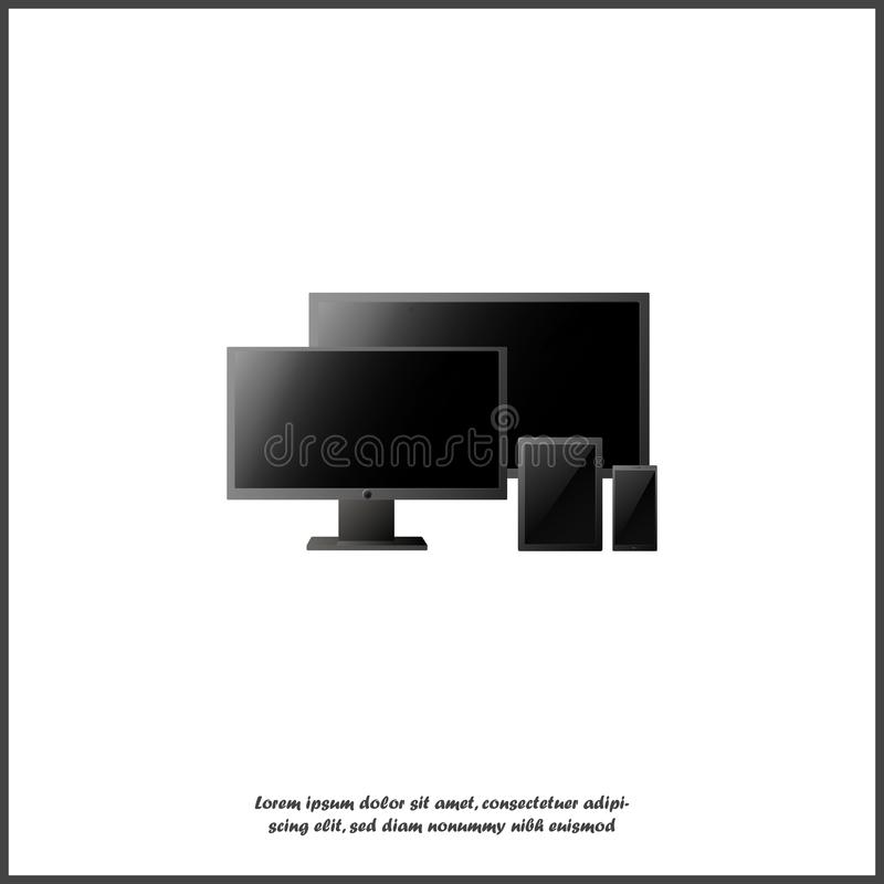 Ensemble réaliste d'écran d'ordinateur, TV LSD, tablette et smartphone sur fond blanc isolé Divers gadgets électroniques modernes illustration de vecteur
