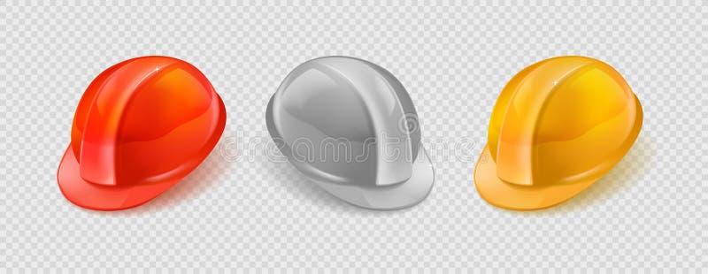 Ensemble réaliste d'illustration courante de vecteur orange, casque blanc et jaune de construction d'isolement sur le fond à carr illustration libre de droits