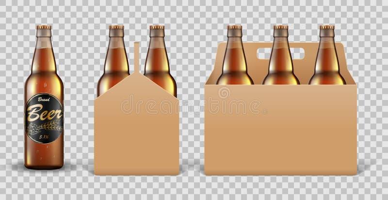Ensemble réaliste de bouteille à bière en verre dans la boîte de empaquetage sur le fond transparent Maquette de calibre de bière illustration stock