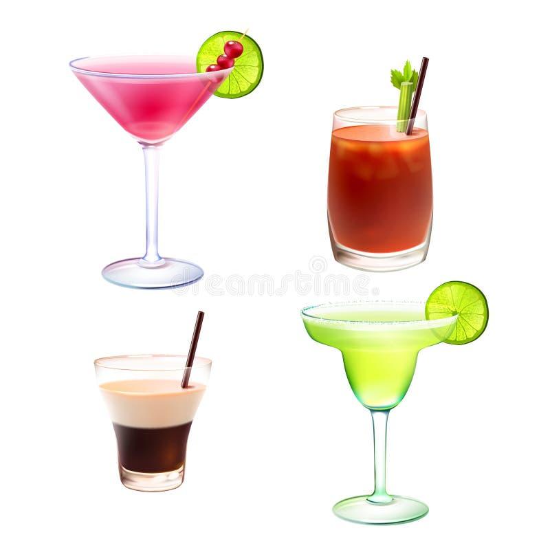 Ensemble réaliste de cocktail illustration stock