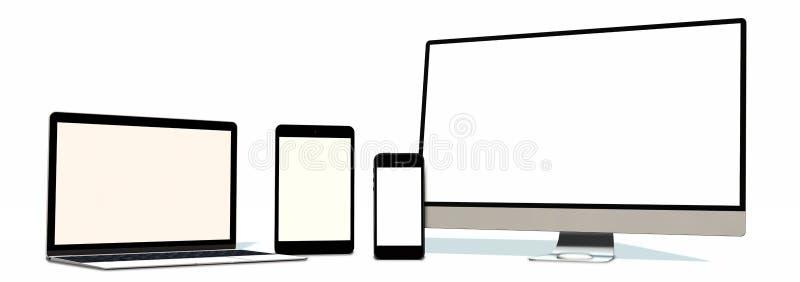 Ensemble réaliste de comprimé et de téléphone d'ordinateur portable de moniteur d'isolement sur le blanc illustration de vecteur