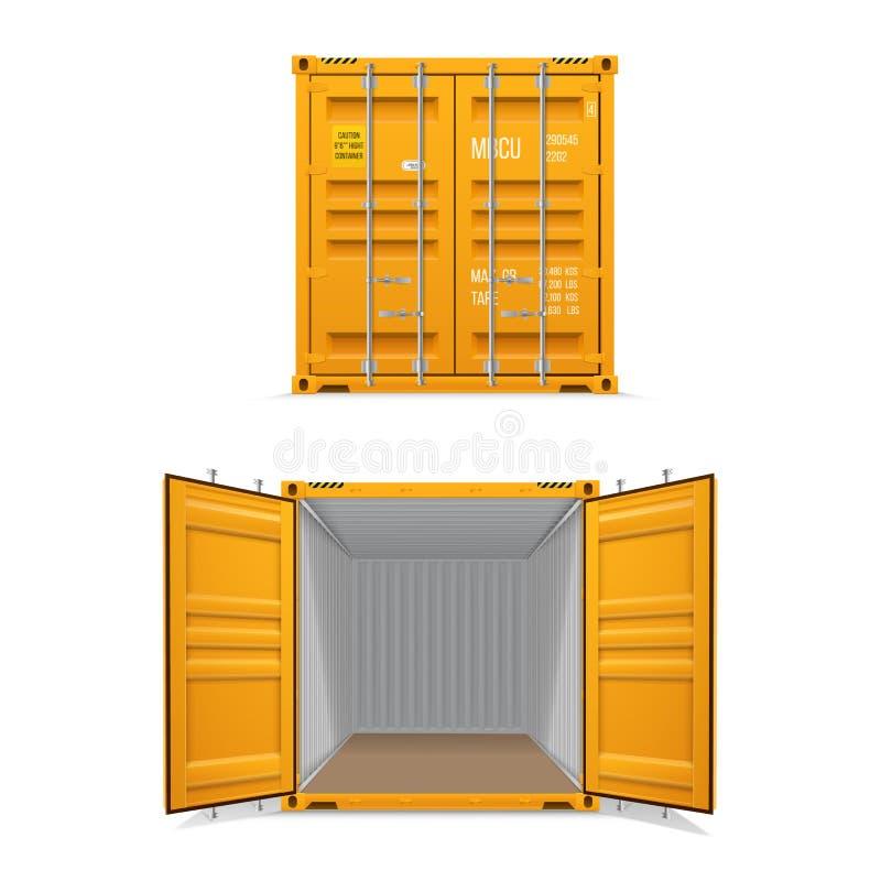Ensemble réaliste de conteneurs de cargaison jaunes lumineux Ouvrez-vous et fermé La livraison, transport, transport de marchandi illustration libre de droits