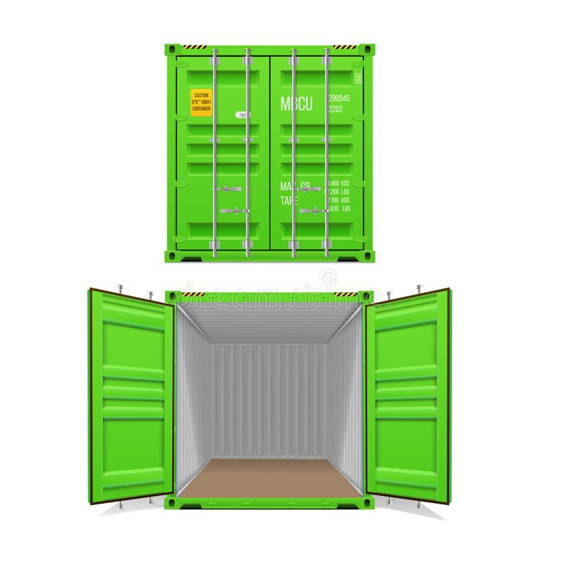 Ensemble réaliste de conteneurs de cargaison vert clair Ouvrez-vous et ferm? illustration libre de droits